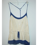Steve Madden cream lace overlay front blue cami sleep top racerback-L-NW... - $12.16
