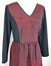 Kensie Womens Size Medium Red Black V Neck Lace Back Fit n Flare Skater Dress - $18.89