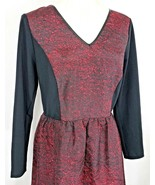 Kensie Womens Size Medium Red Black V Neck Lace Back Fit n Flare Skater ... - $17.17