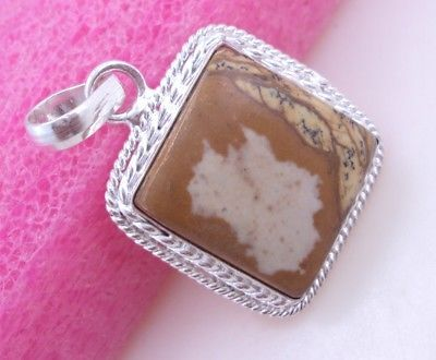 Primary image for 11 Gram Picture Jasper Stone Silver Overlay Handmade Pendant Jewelry
