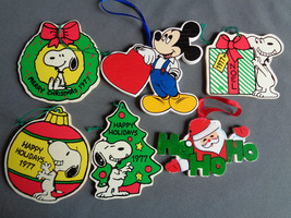 Vintage 1977 70s Wood Ornaments Peanuts Snoopy Mickey Mouse Santa 6 Pc Lot - $24.74