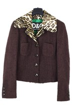 D&G animal print collar cropped jacket skirt suit - $159.25