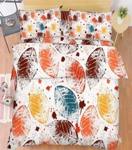 3D Color Leaves Bed Pillowcases Quilt Duvet Cover Set Single Queen King Size AU - $90.04+