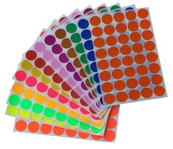 "Round Stickers 3/4"" Inch Colored Coding Circular Labels 19mm Dots 520 Pack - $9.78"