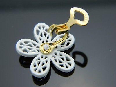 Vintage CORO Signed White Yellow Enamel Daisy Flower Clip Earrings