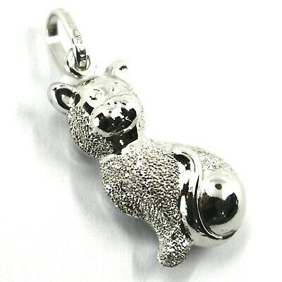 White Gold Pendant 750 18K,Cat, Polished and Satin, Double Face, Pendant
