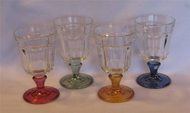 4 Hvy VTG Bormioli Rocco Paneled Colored Stems Clear Sides Chunky Goblet... - $34.99