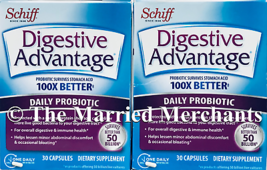 (2) Schiff Digestive Advantage Daily Probiotic 30 capsules each 10/2021 FRESH! - $12.95
