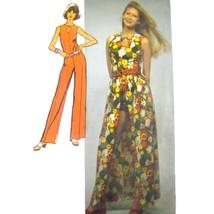 Vtg 70s Simplicity 5025 Misses Sleeveless Jumpsuit Long Short Wrap Skirt... - $9.95