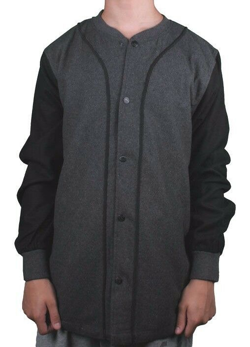 Crooks & Castles Charcoal Heather Thuxury Repeat Wool Polyester Baseball Shirt