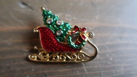 Vintage Santa Sleigh Enamel Rhinestone Brooch - $11.88