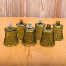 6 Vintage Indiana Glass Diamond Point Green Gla... - $46.74