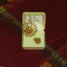 SARAH COVENTRY RHINESTONE FLOWER BROOCH & ADJUSTABLE RING SIGNED VINTAGE... - $18.95