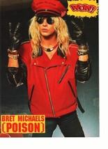 Jon Bon Jovi Bret Michael Poison teen magazine pinup clipping 1980 red hat