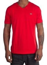 Lacoste Men's Premium Pima Cotton V-Neck Shirt T-Shirt Red Cerise Size XL