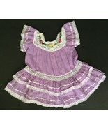 Toddler Ecuadorian Gypsy Dress 2T Purple Floral Crochet Neckline Lace Trim - $24.74