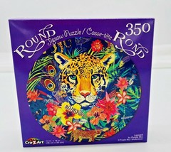 Lepoard by Purple Sky ~ Round Jigsaw Puzzle ~ 350 Pcs New - $4.46