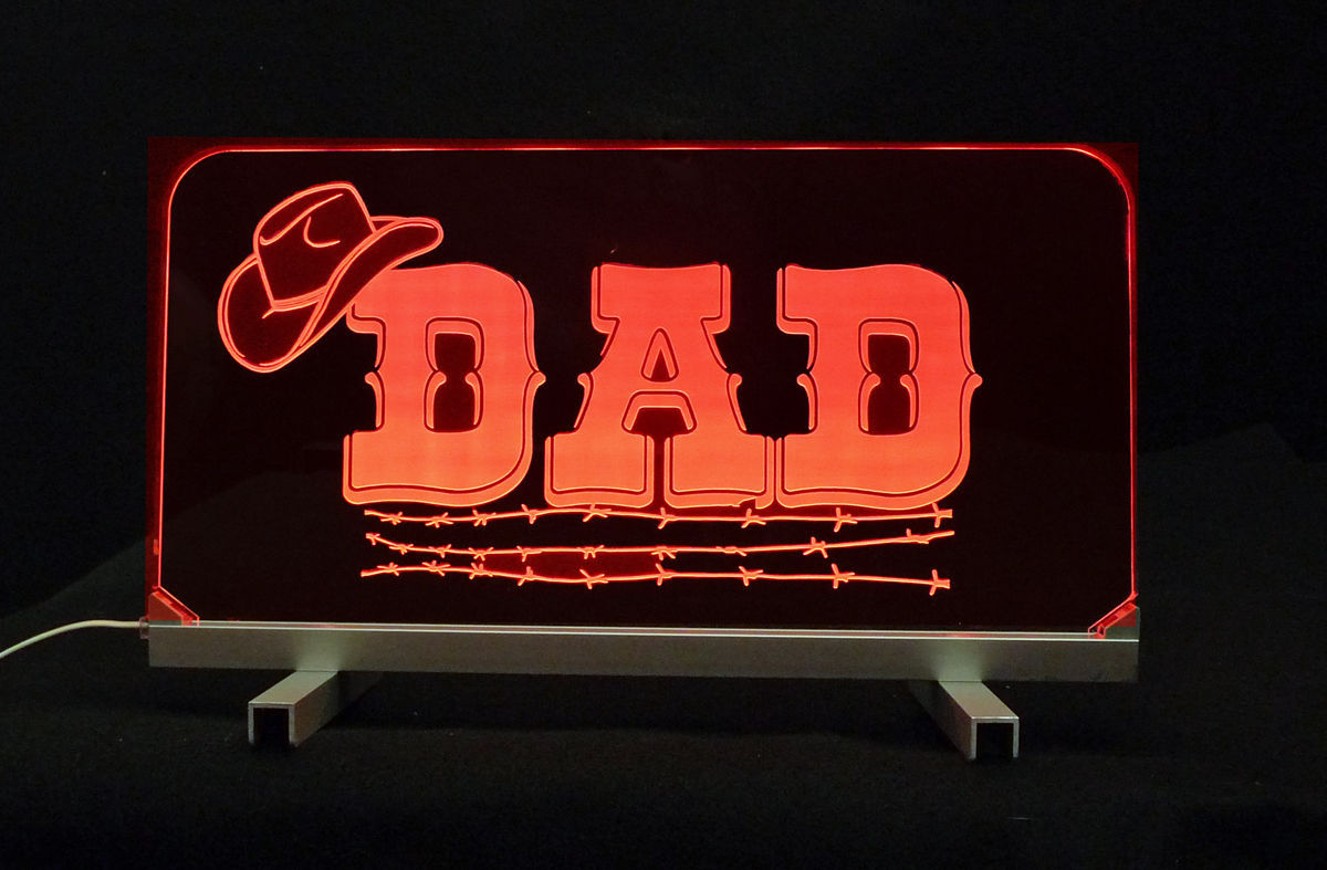 Personalized LED  Desk Dad Table Sign - Gift for Dad