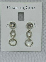 "Charter Club 1-3/8"" Silver Tone Crystal Pave dangle Drop Earrings N914 $34 - $13.95"
