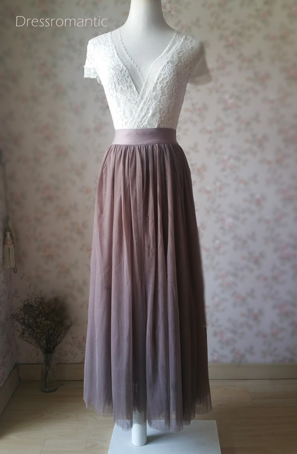 COFFEE High Waisted Plus Size Maxi Skirt Floor Length Bridesmaid Tulle Skirt NWT
