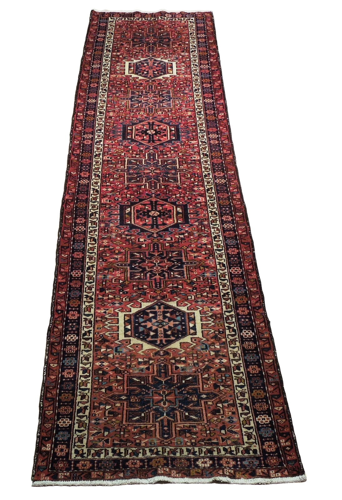 3' x 13' Rust Brick Red Semi-Antique Runner Red Karaja Persian Handmade Rug