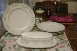 Johann Haviland Blue & White Dainty Floral Butter Dish and 4 Bread Plates Sweet! - $38.60