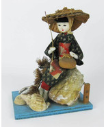 Vintage Japanese Woman Doll With Sea Shells Gofun Glass Eyes Signed! Rare - $35.00