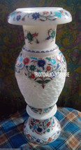 """12"""" White Marble Flower Pot Mosaic Inlay Work Art Marquetry Table Decor Gifts - $253.51"""