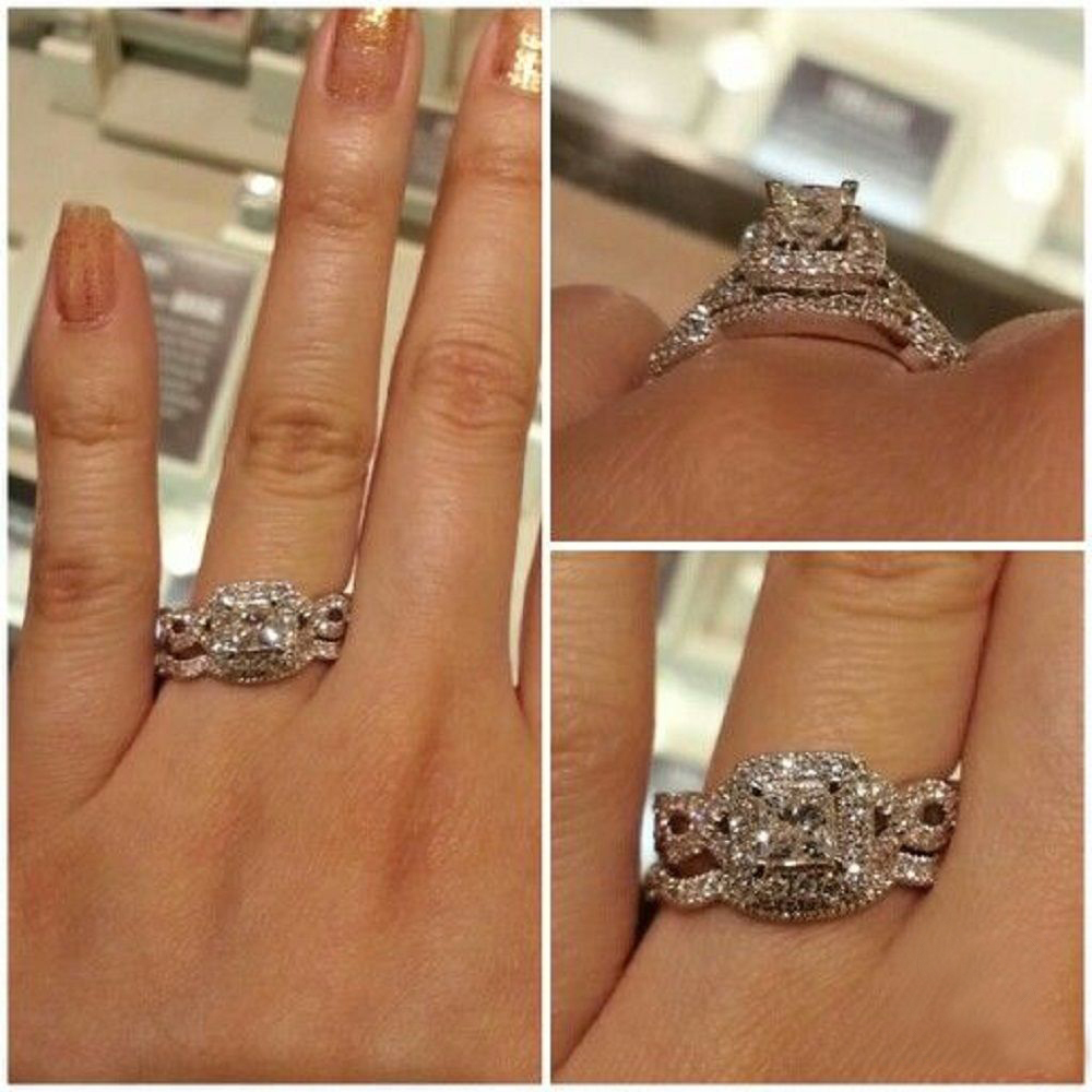 Princess Cut CZ Bridal Engagement Ring Set 14k White Gold Plated 925 Pure Silver