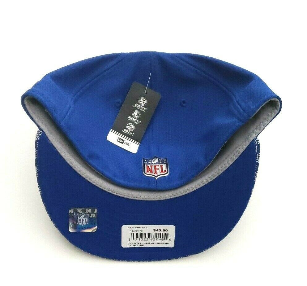 New Era Los Angeles Rams 5950 On Field 2017 Sideline Fitted Hat Blue Size 7 3/8 image 6