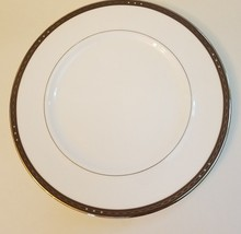 Waterford Catania China Dinner Plate Platinum Chain Blue Dots Brown Rim Retired - $27.71