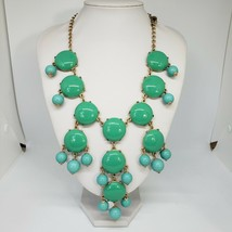 J. CREW Statement Bubble Necklace Green Turquoise Chunky Chic Beads Bib - $18.97