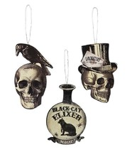 Bethany Lowe 3 Apothecary Dummy Board Halloween Ornament Set Skull Raven... - $12.86