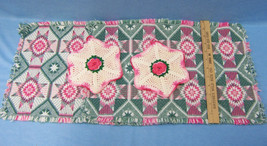 Woven Pink & Green Placemat with Hand Crocheted Doilies Pot Holder  Lot ... - $11.87
