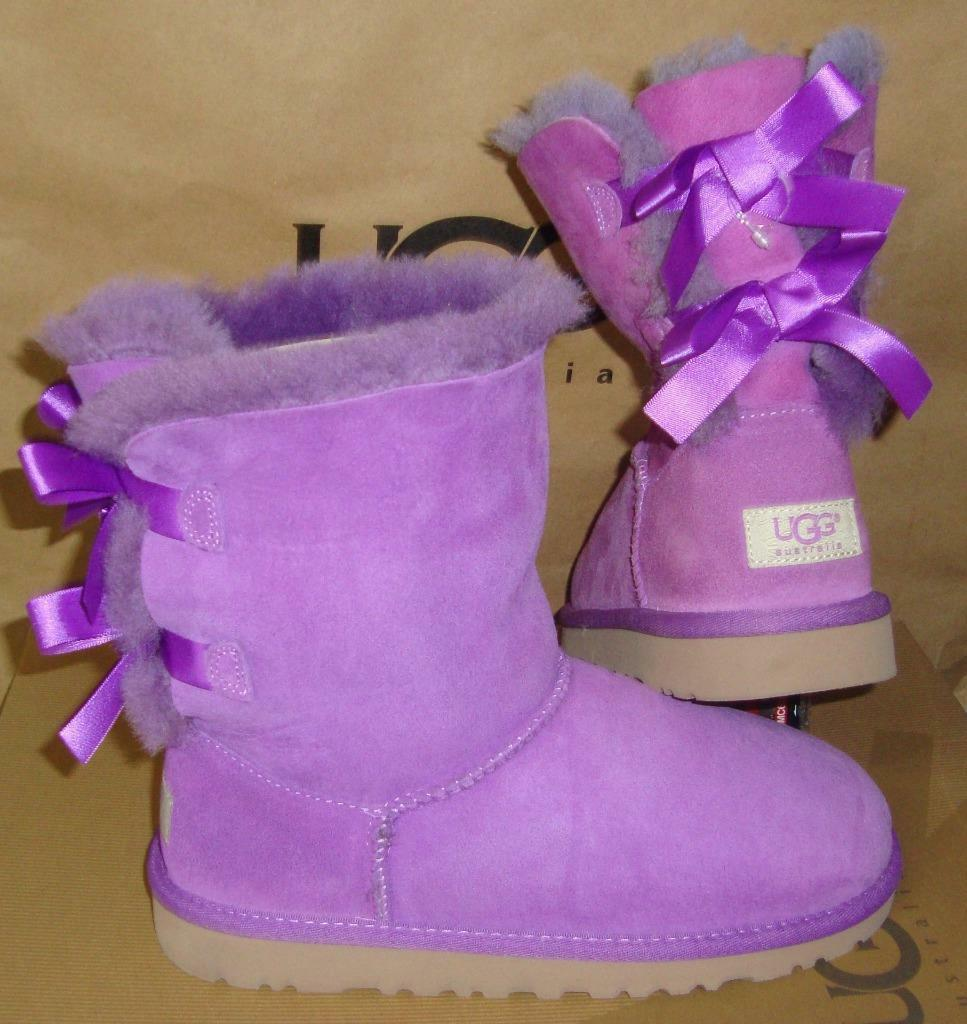 Primary image for UGG Australia Purple Bailey Bow Boots Youth Size 5Y, Women's 7 NEW #3280 Y