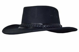 Cowboy Leather Hat Black Texas Style Aussie Wild West Fancy Waxed Fedora - $78.50