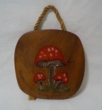 Mushroom Wall Art Hanging Wood Plaque Vintage Fly Agaric Fungi Decor  - $19.79