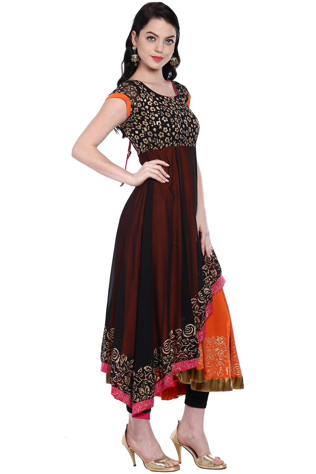 Ira Soleil double layered asymetrical hem gold printed anarkali kurti made in po