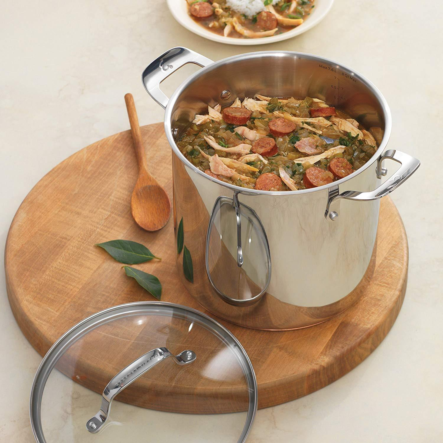 Emeril Lagasse Stainless Steel Copper Core Stock Pot, 8 quart, Silver SOLID NEW. - $349.70