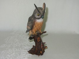 Vintage Carved Wood Horned Owl on Log Branch Bird Figurine Made China - $25.24