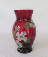 Anchor Hocking, Royal Ruby Vase, Hand Painted - $12.01 CAD