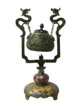 Chinese Metal Blue Enamel Cloisonne Dragon Incense Burner Figure cs2870 - $2,250.00