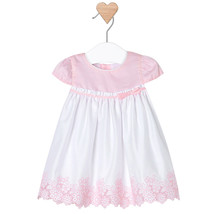 Mayoral Baby Girl 0M-12M Rose Pink/white Embroidered Floral Border Cotton Dress