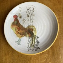 Williams Sonoma Rooster Salad plate French writing Made in Italy - $13.86
