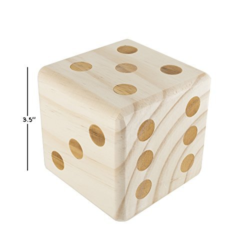 Hey! Play! 80-ZS-GYY01 Giant Wooden yd Dice Outdoor Lawn Game, 6 Playing Dice wi