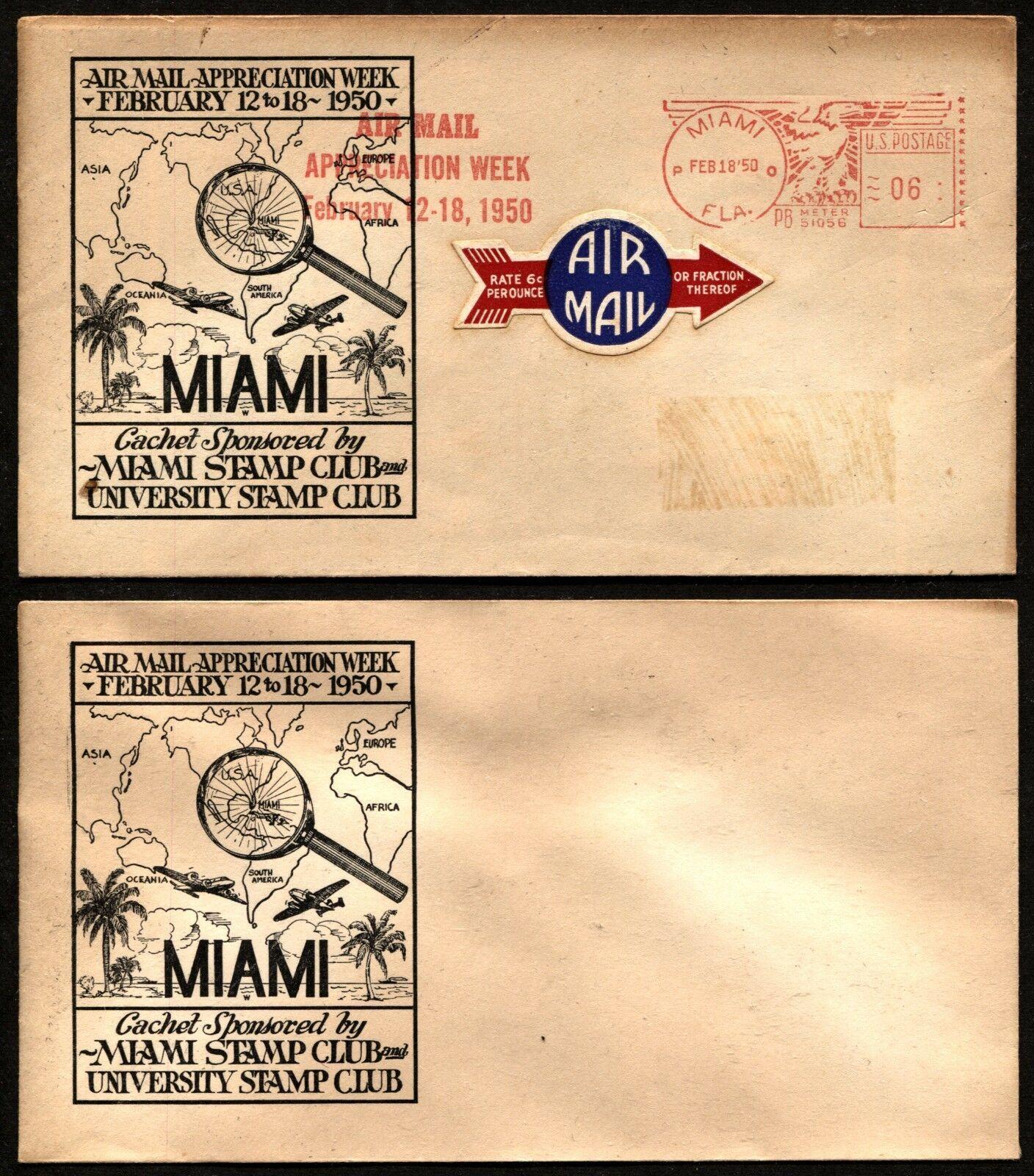 Air Mail Appreciation Week 1950 MIAMI Stamp Club Mailomat Stationery Used & Mint