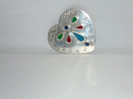 Taxco Sterling Heart/with Stones Signed Pin/Pendant 1960s  - $80.00