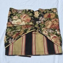 "Scalloped Layered Valance Waverly Villa Carlotta Black Floral Stripe 18""... - $19.34"
