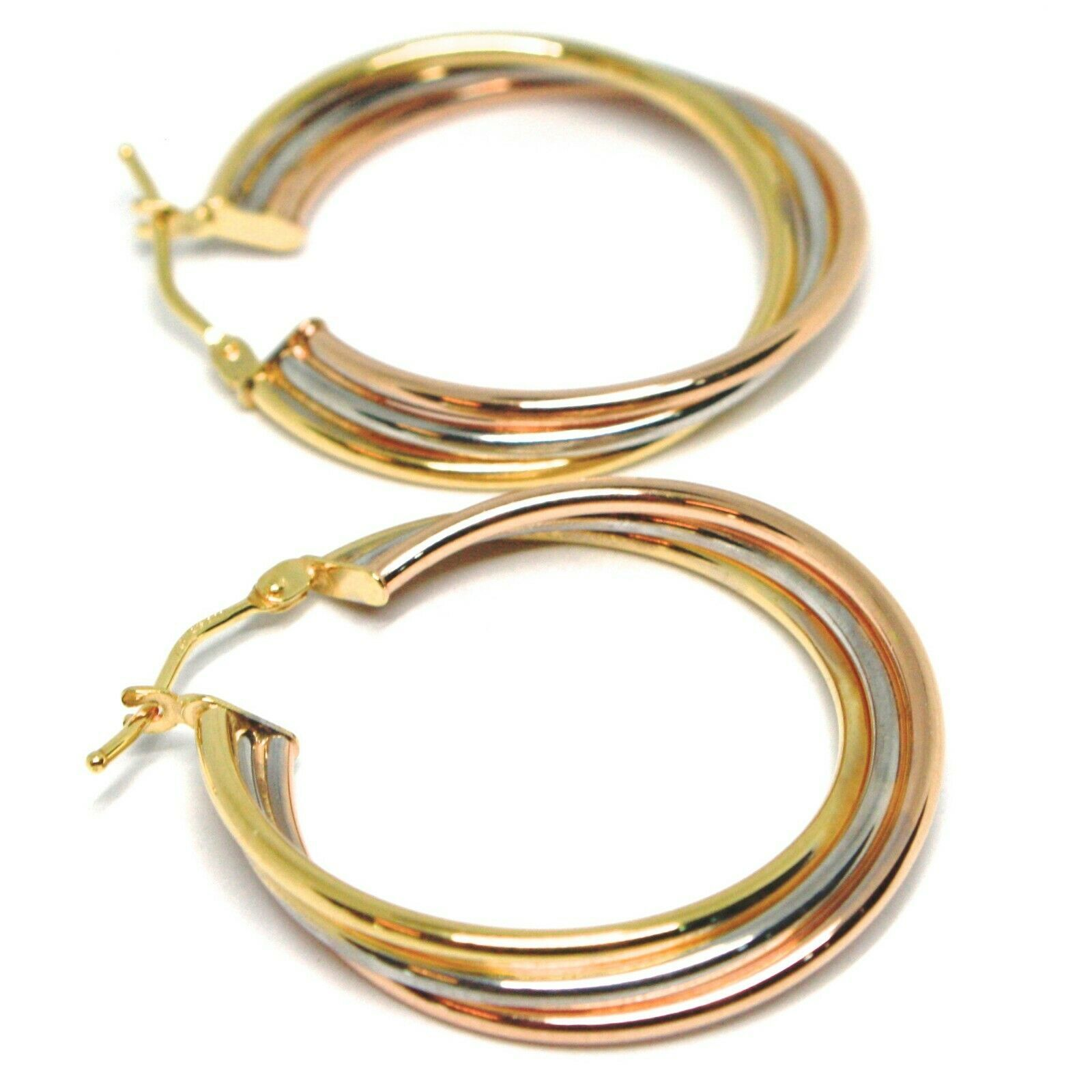 Earrings Circle White Gold, Pink, Yellow 750 18K, Twisted, 3 Tubes, 2.8 CM