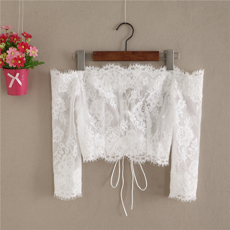 Off Shoulder Long Sleeve Lace Crop Top Bridal Crop Lace Top
